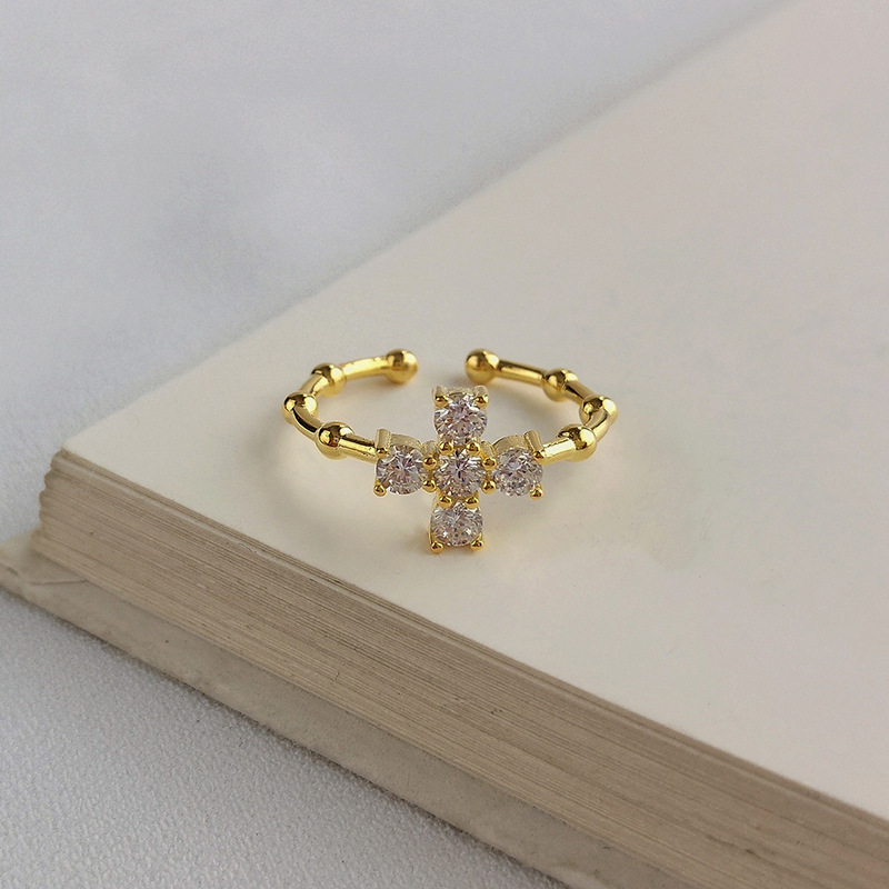 Cross Bamboo Bone Round Cut Sterling Silver Plated Gold Ring