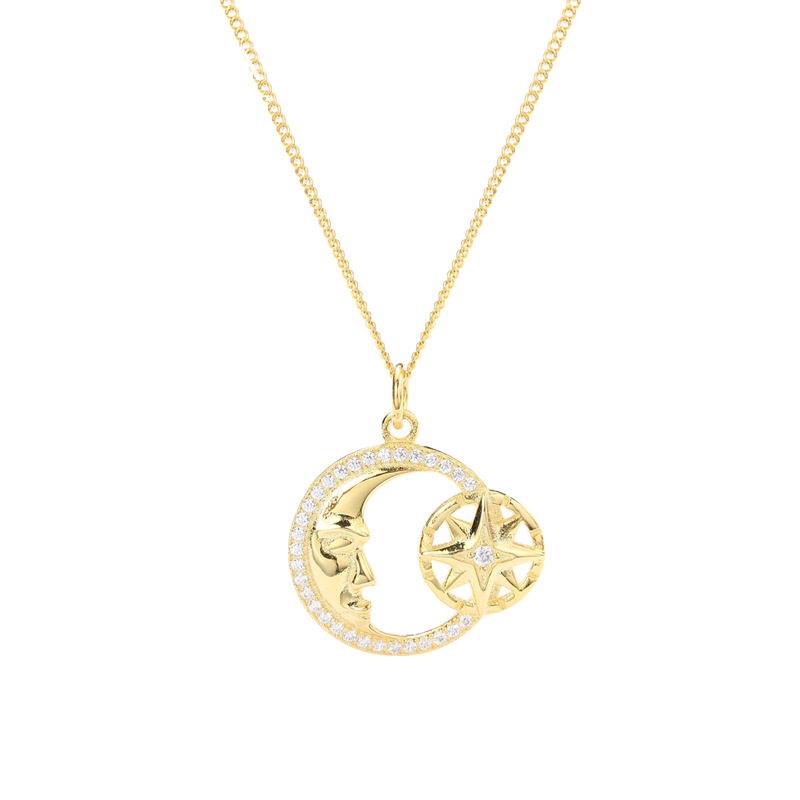 Delicate Midnight Round Cut Silver Plated Gold Necklace