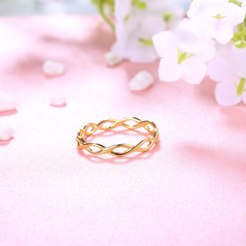 Braided Skinny Ring Gold