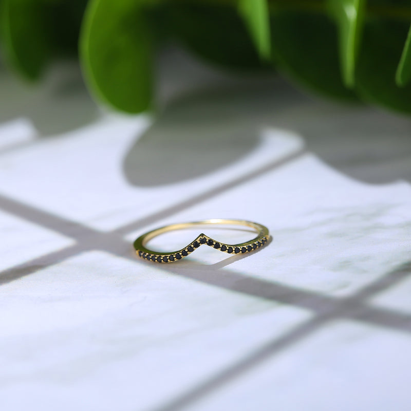 Chevron Black Pave Ring Set