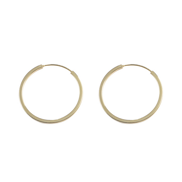 Simple Circle Sterling Silver Plated Gold Earring