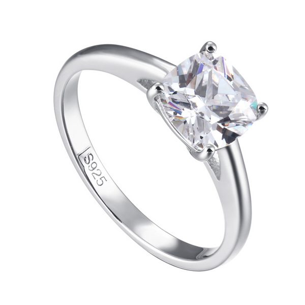 Solitaire Cushion Cut Sterling Silver Ring-TL-Juri Elle
