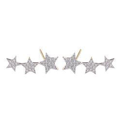 Multiple Stars Round Cut Sterling Silver Plated Gold Stud Earring