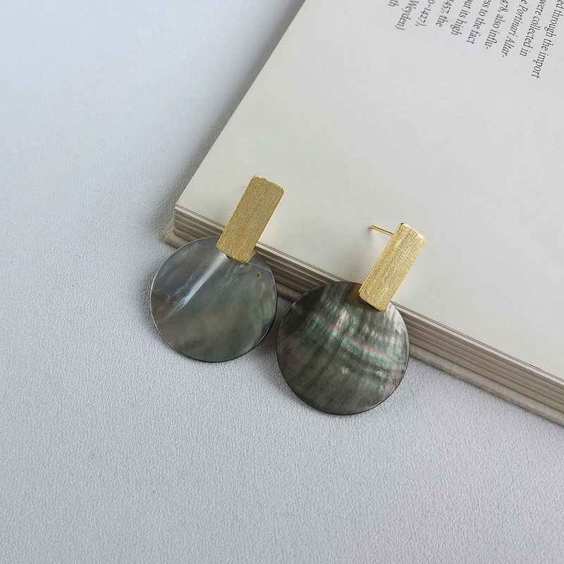 Shell Geometry Sterling Silver Plated Gold Stud Earring