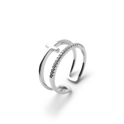 Adjustable Double-layer Cross Sterling Silver Ring