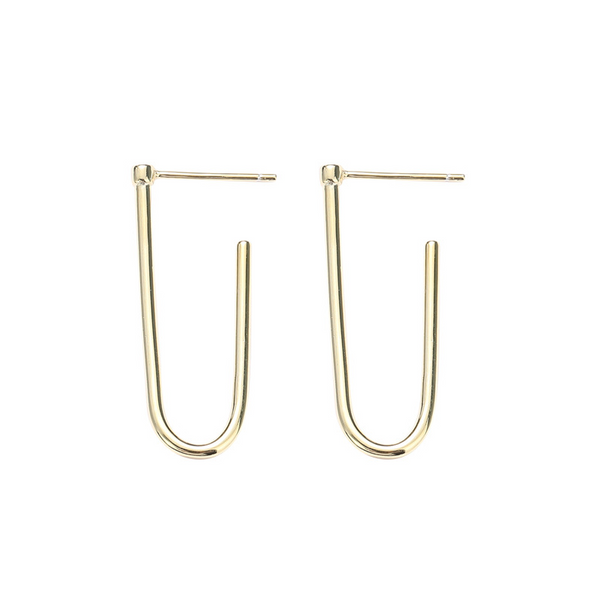 Simple Geometry Sterling Silver Plated Gold Stud Earring