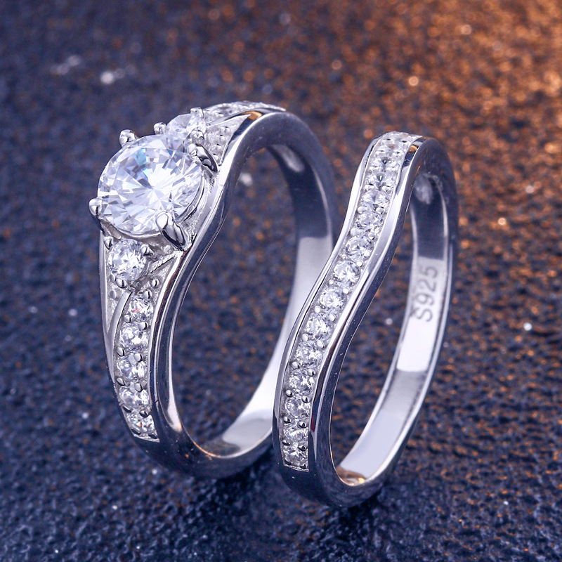 Promise Round Cut Sterling Silver Ring Set-TL-Juri Elle
