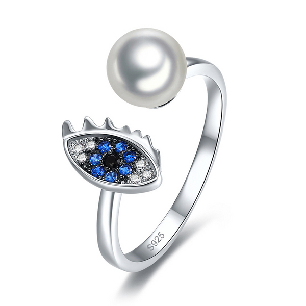 Pearl Round Cut Sterling Silver Ring-ZX-Juri Elle