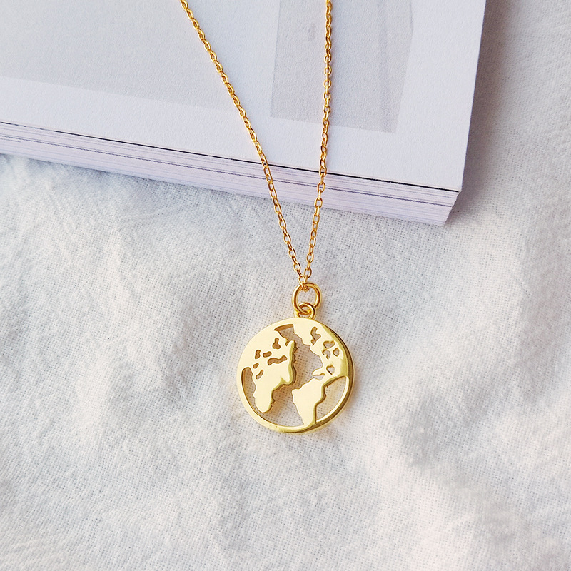 World Map Sterling Silver Plated 14K Gold Necklace