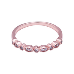 Rose Gold Round Cut Sterling Silver Ring-TL-Juri Elle