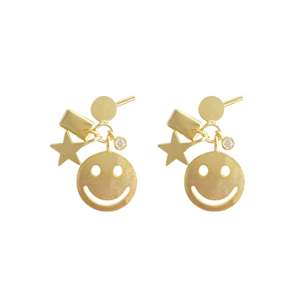 Cartoon Smiling Face Round Cut Sterling Silver Plated Gold Stud Earring
