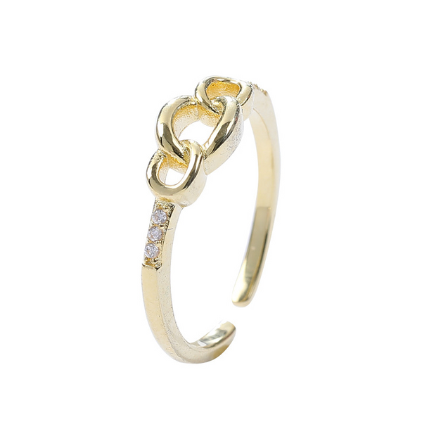 Interlocking Round Cut Sterling Silver Plated Gold Ring