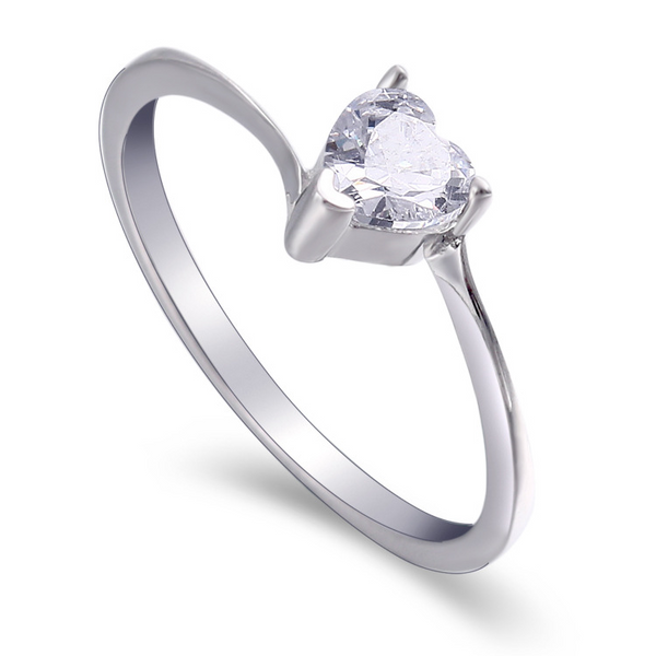 Solitaire Heart Cut Sterling Silver Ring-TL-Juri Elle