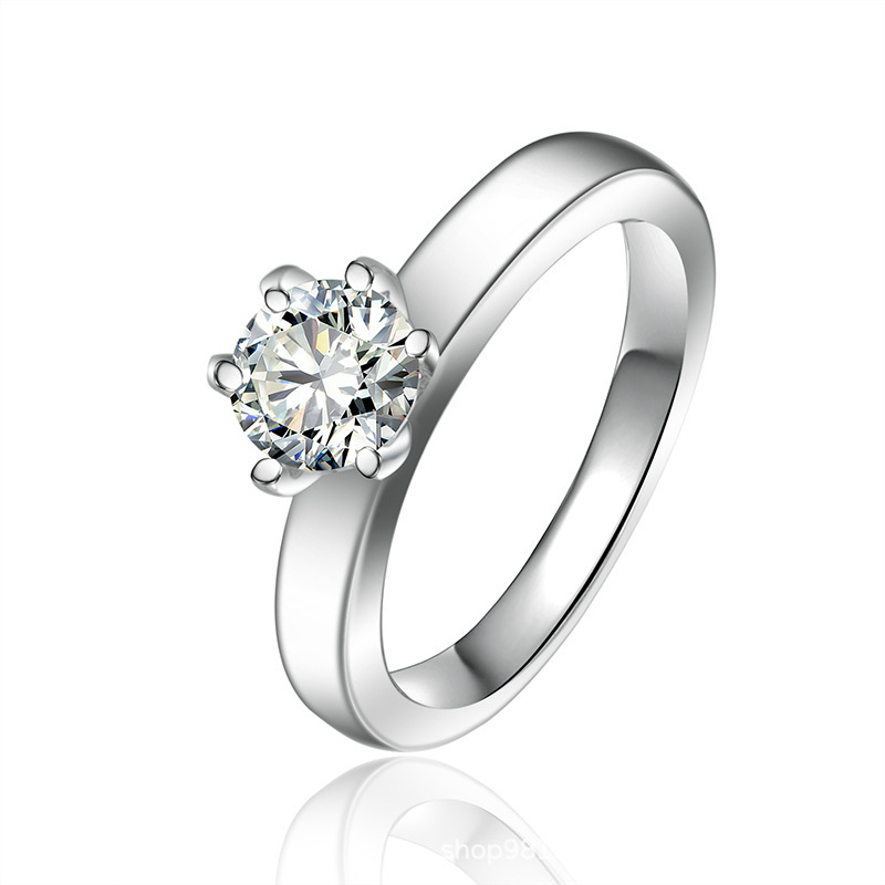 Solitaire Round Cut Sterling Silver Ring-TL-Juri Elle