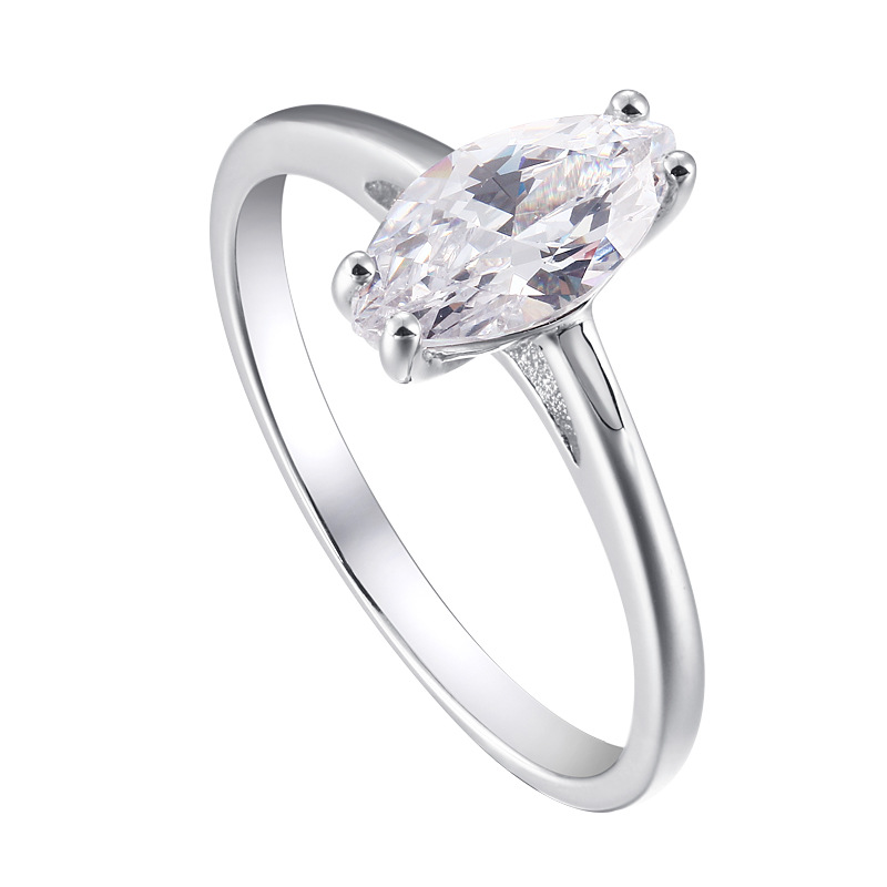Solitaire Marquise Cut Sterling Silver Ring For Women-TL-Juri Elle