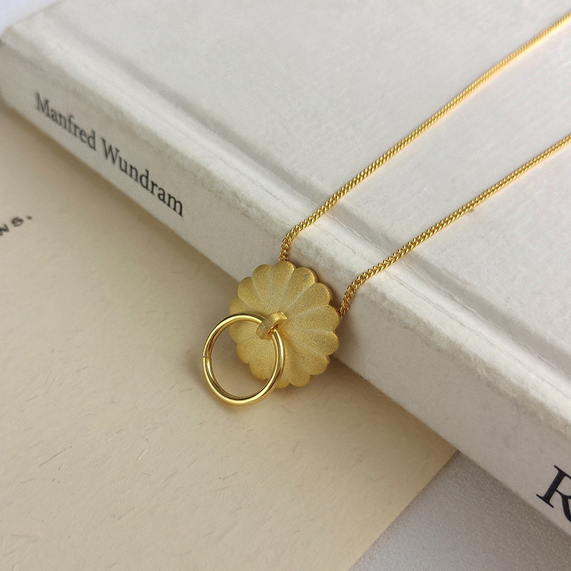 Petal Circle Sterling Silver Plated Gold Necklace