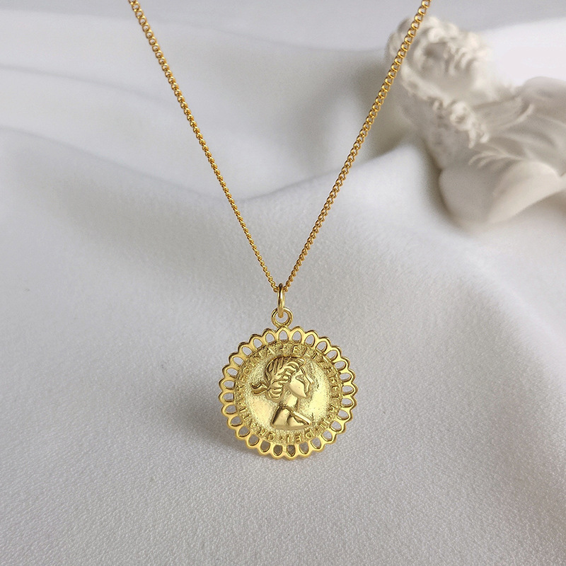 Trendy Portrait Sterling Silver Plated Gold Necklace