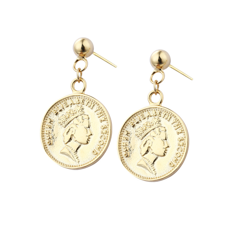 Golden Round Card Portrait Sterling Silver Plated Gold Stud Earring
