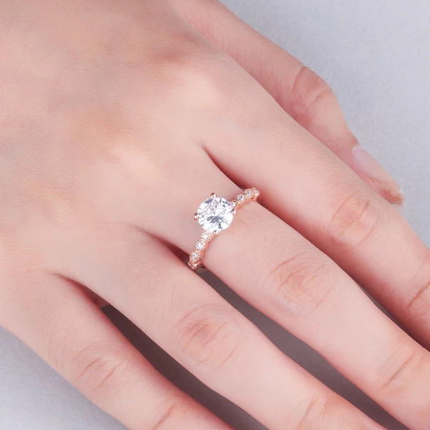 Wedding Round Cut Sterling Silver Ring For Women