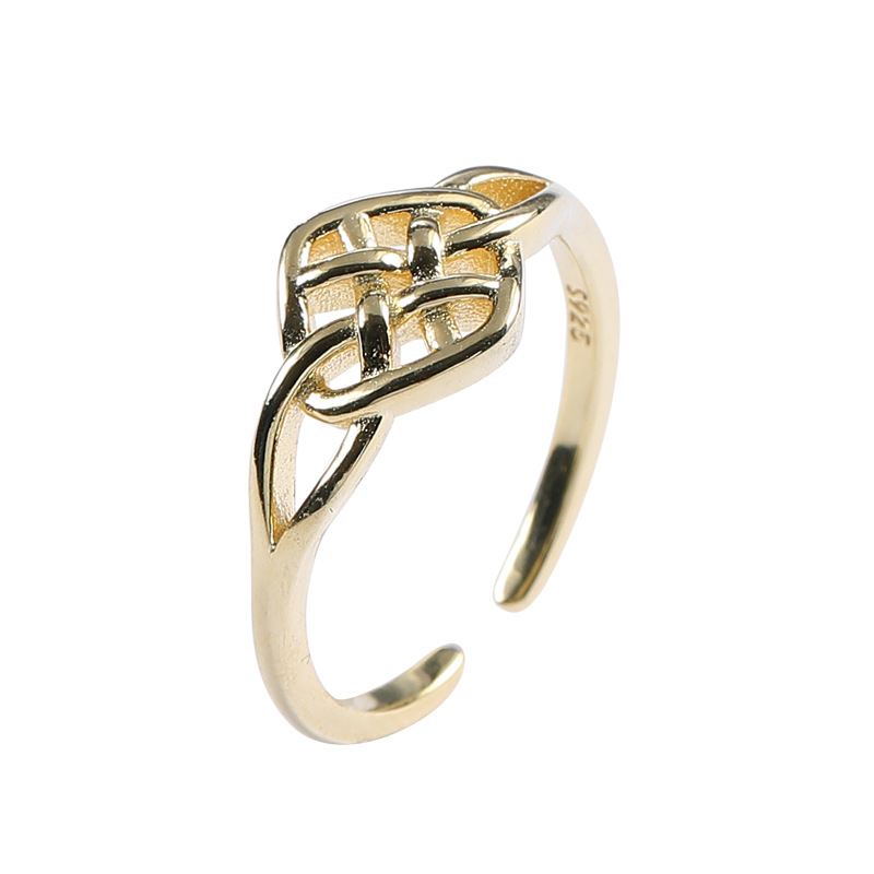 Interwoven Mesh Sterling Silver Plated Gold Ring
