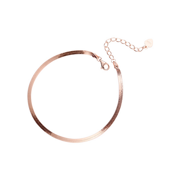 Snake Bone Chain Sterling Silver Plated Rose Gold Bracelet
