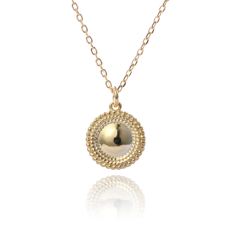 Glossy Round Sterling Silver Plated Gold Necklace
