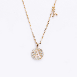 Hollow Letter Round Cut Sterling Silver Plated Champagne Gold Necklace