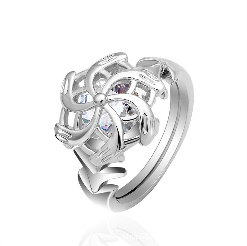 Flower Round Cut Sterling Silver Ring-TL-Juri Elle