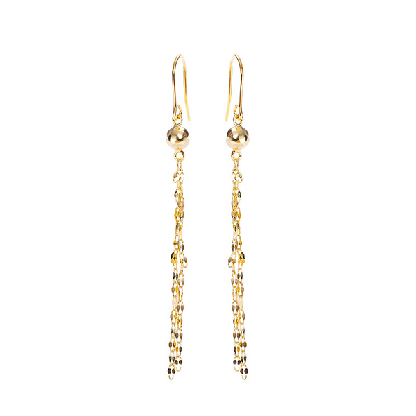 Long Tassel Sterling Silver Plated Gold Earring