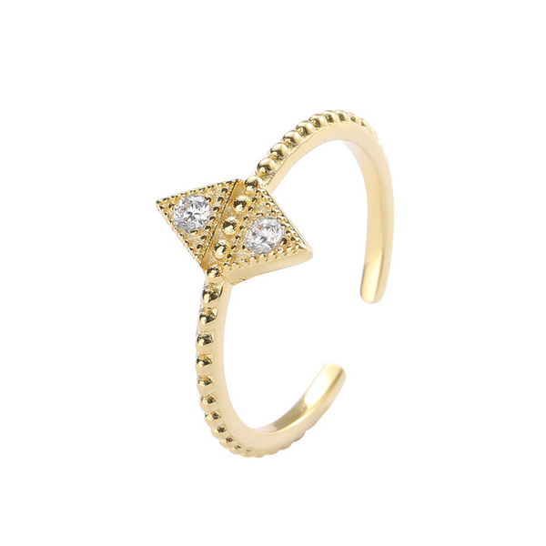 Triangle Beads Round Cut Sterling Silver Plated Gold Ring