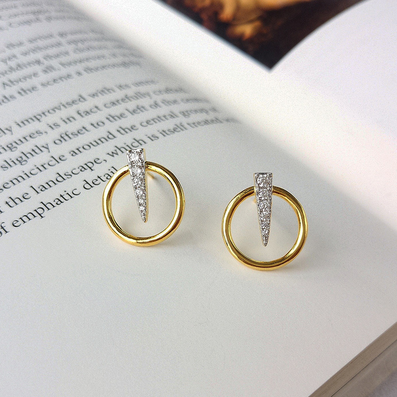 Circle Inverted Triangle Round Cut Sterling Silver Plated Gold Stud Earring