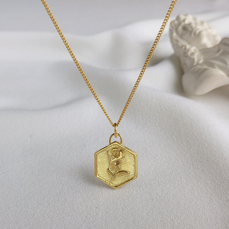 Rose Carving Sterling Silver Plated  Gold Necklace