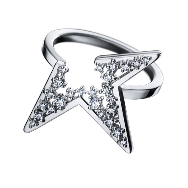 Abstract Star Three Angels Ring