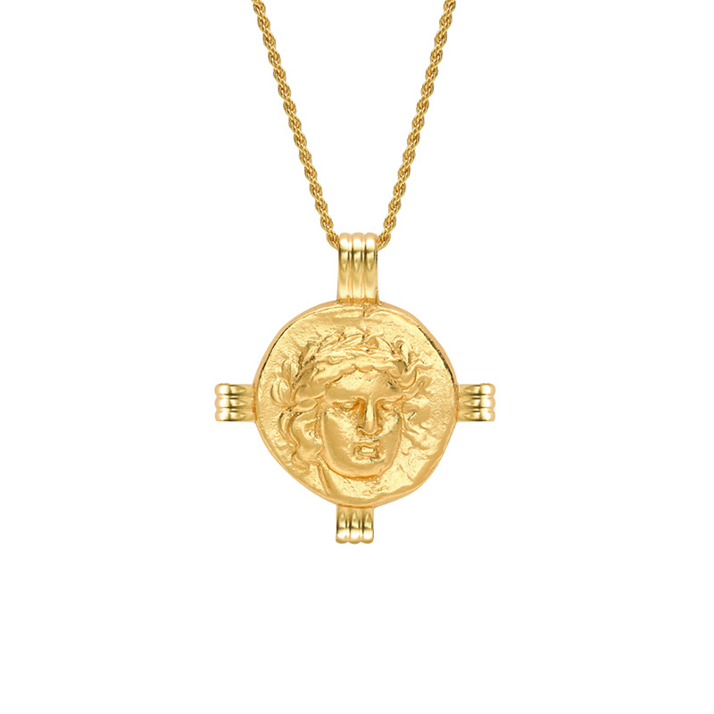 Golden Round Portrait Sterling Silver Plated Gold Necklace