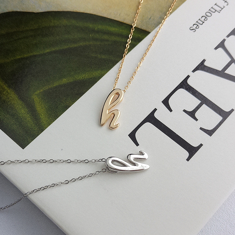 Single Letter Round Cut Sterling Silver Necklace