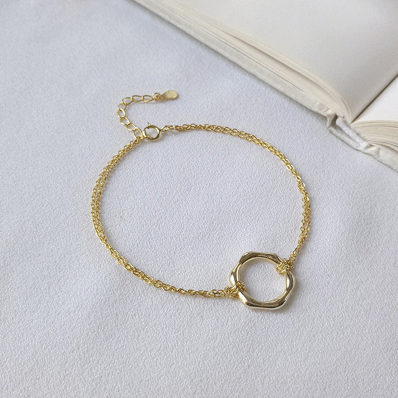 Concise Polygon Sterling Silver Plated Gold Bracelet