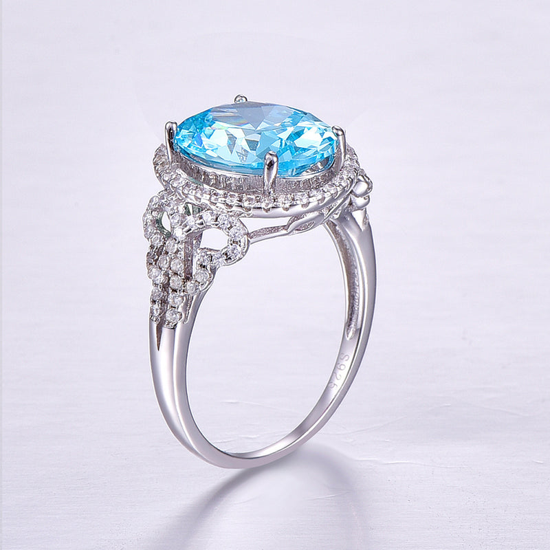 Mermaid Tears Oval Cut Sterling Silver Ring-ZX-Juri Elle