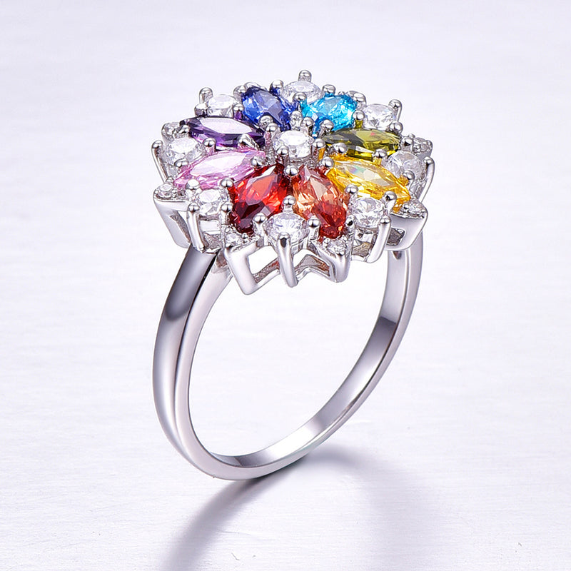 Flower Marquise Cut Sterling Silver Ring-ZX-Juri Elle