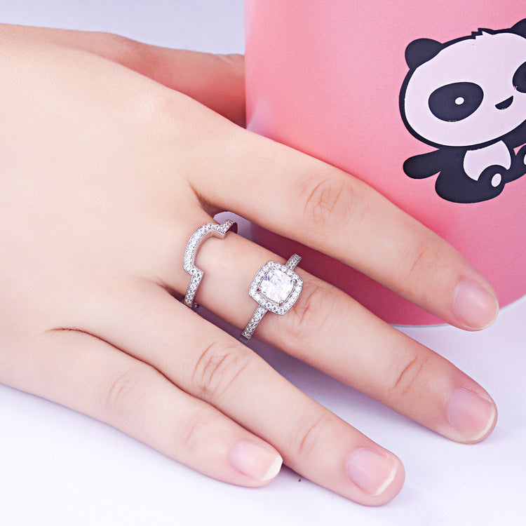 Hug Radiant Cut Sterling Silver Ring-TL-Juri Elle