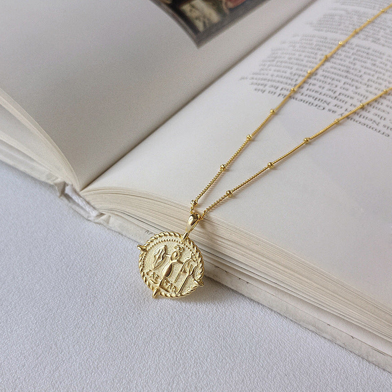 Embossed Coin Sterling Silver Plated Gold Necklace