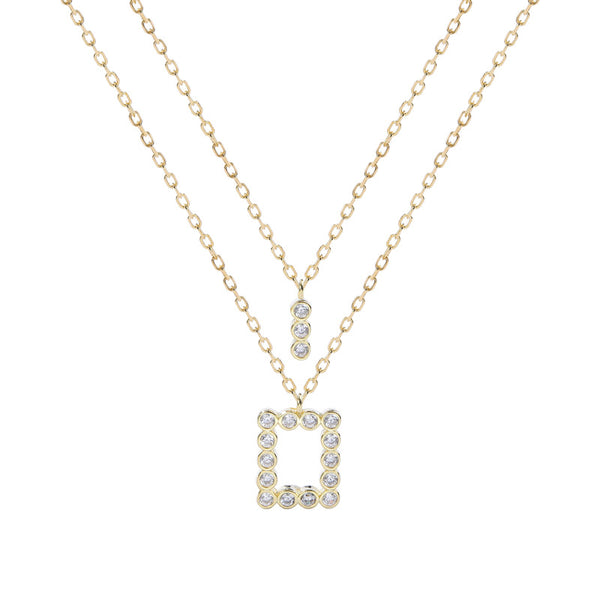 Geometric Double Layer Chain Round Cut Sterling Silver Plated Gold Necklace