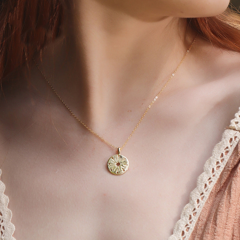 Hollow Coin Sterling Silver Plated Gold Necklace