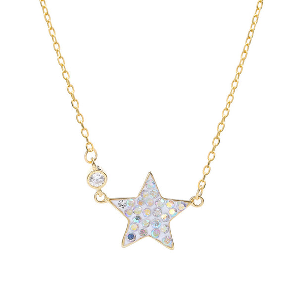 Colorful Pentagram Round Cut Sterling Silver Necklace