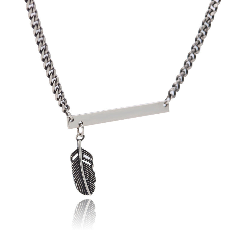 Feather Curb Chain Sterling Silver Necklace