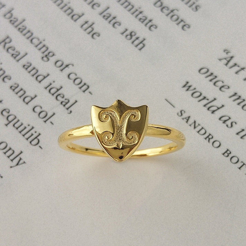 Shield Opening Adjustable Sterling Silver Plated Gold Ring