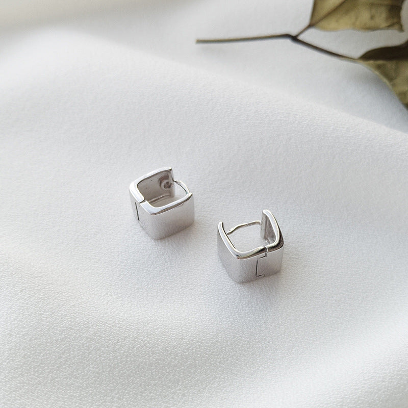 Polishing Square Sterling Silver Plated Platinum Earring
