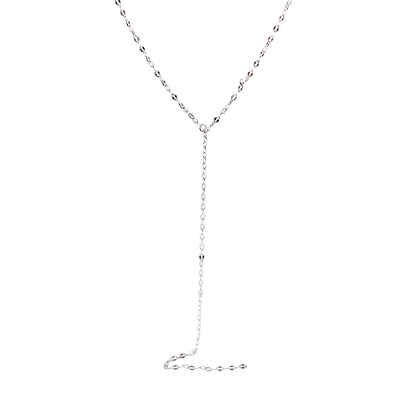 Fashion Y-Shape Sterling Silver Plated Platinum Necklace