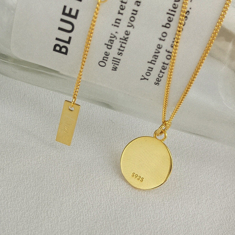 Irregular Engraving Round Card Sterling Silver Necklace