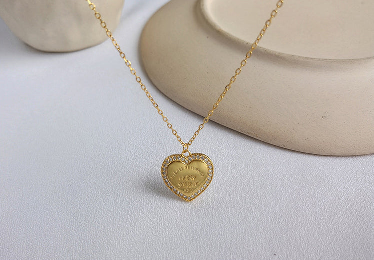 Heart Halo Lettering Round Cut Sterling Silver Plated Gold Necklace