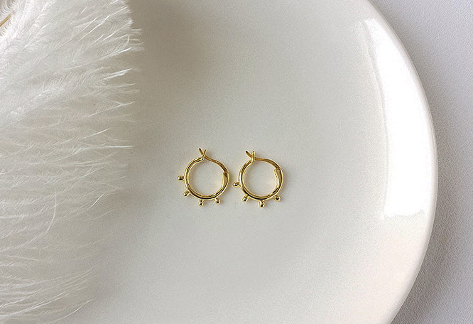 Sun Sterling Silver Plated Gold Earring